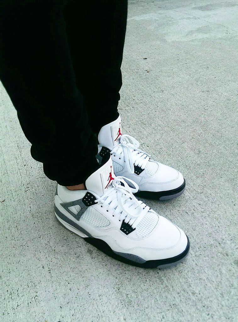 ChunkyMky in the 'Cement' Air Jordan 4 Retro