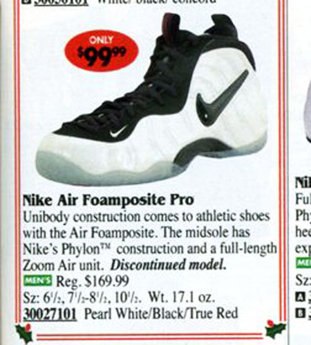 Nike Air Foamposite Pro Pearl in Eastbay Catalog 1998