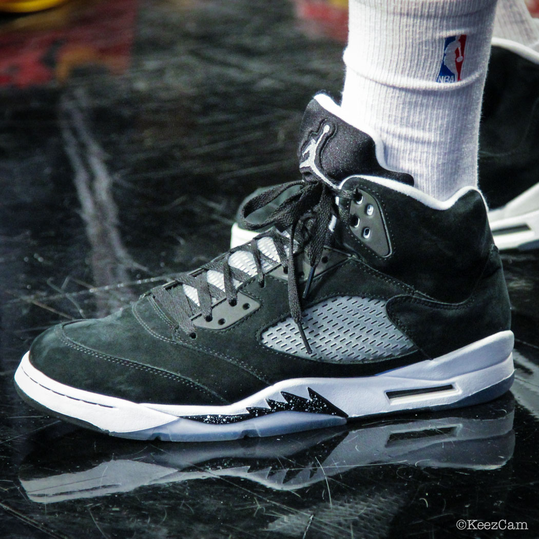 Sole Watch // Up Close At Barclays for Nets vs Cavs - Carrick Felix wearing Air Jordan 5 Retro Oreo