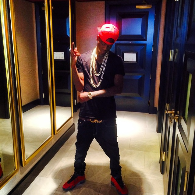 9b452f12876 Air Jordan 14 Soulja Boy wearing Air Jordan XIV 14 Ferrari ...