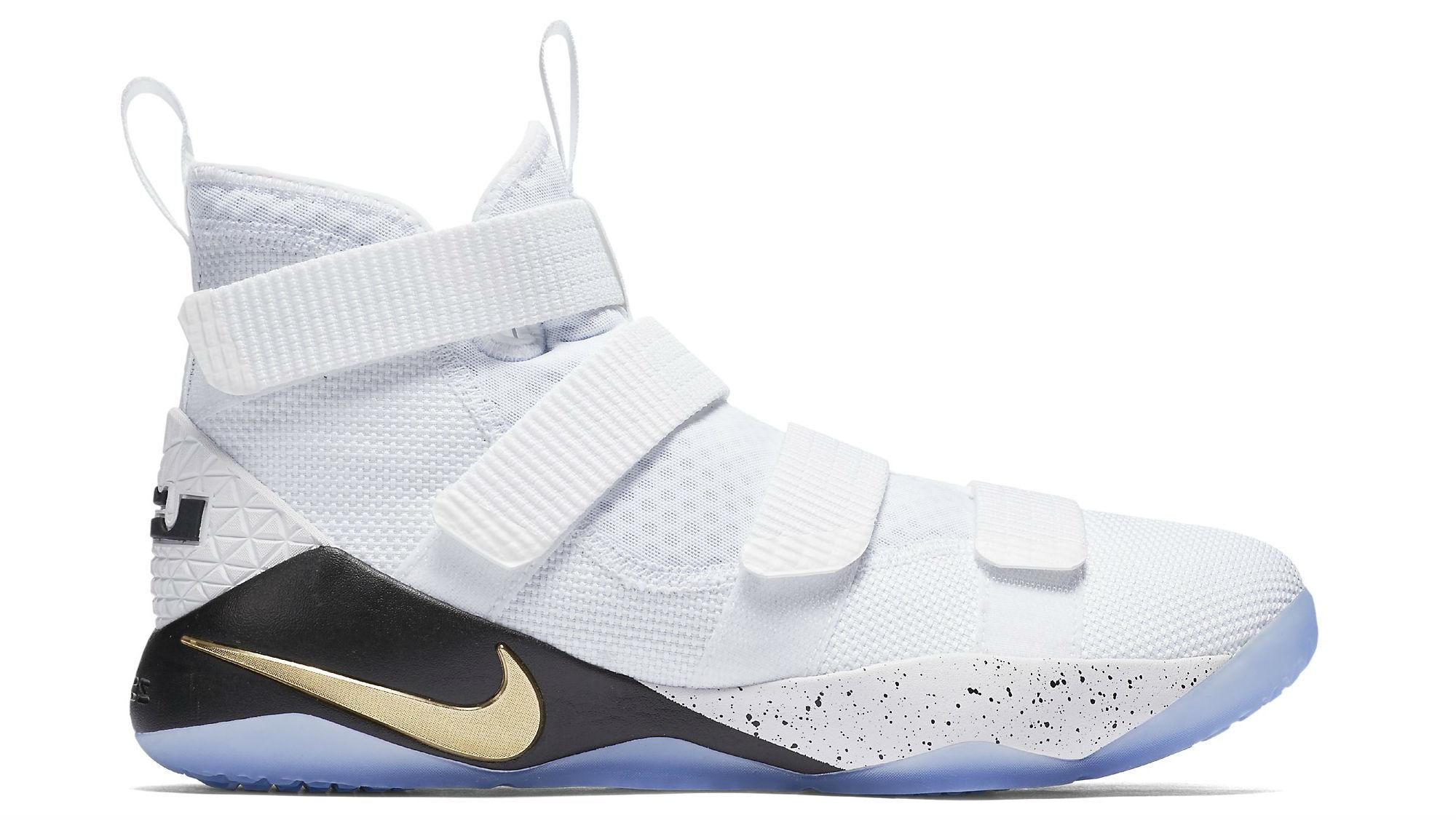 Nike LeBron Soldier 11 White/Metallic Gold-Black