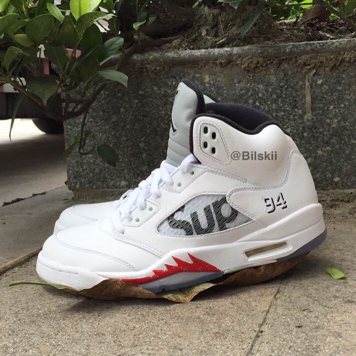 9adb960a5cf Here's the Third Supreme x Air Jordan 5 On-Foot | Sole Collector