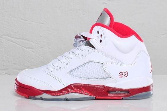 sports shoes a1d40 cdccf Air Jordan Retro 5 GS - White/Legacy Red-Scarlet Fire - New ...