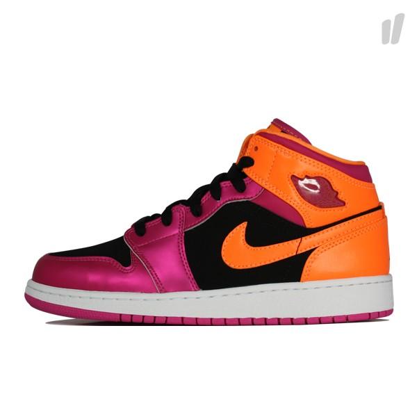 vast selection online store reliable quality Air Jordan 1 Retro Mid GS - Black/Fusion Pink-Bright Citrus ...