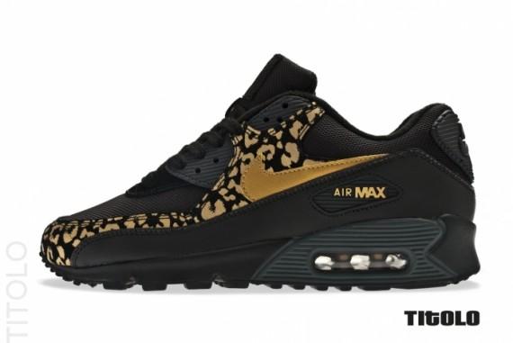 NIKE AIR MAX 90 LEOPARD PRINT GOLD BLACK $ 150 | Nike Air