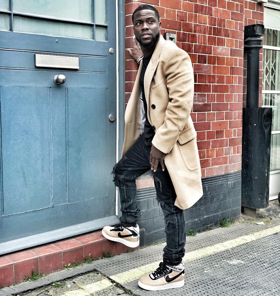 c2c00de3f02703 Kevin Hart Wearing the Beige Nike Air Force 1 RT