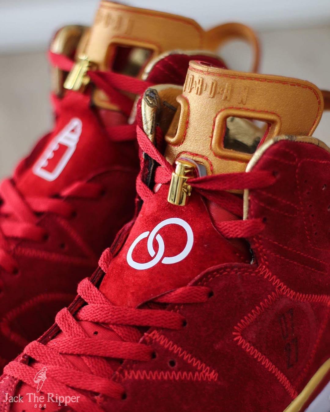 Air Jordan 6 Blood Red Custom Jack the Ripper Tongue