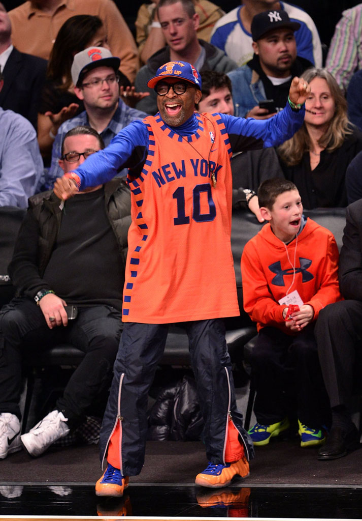 Spike Lee wearing Nike Air Foamposite One Knicks