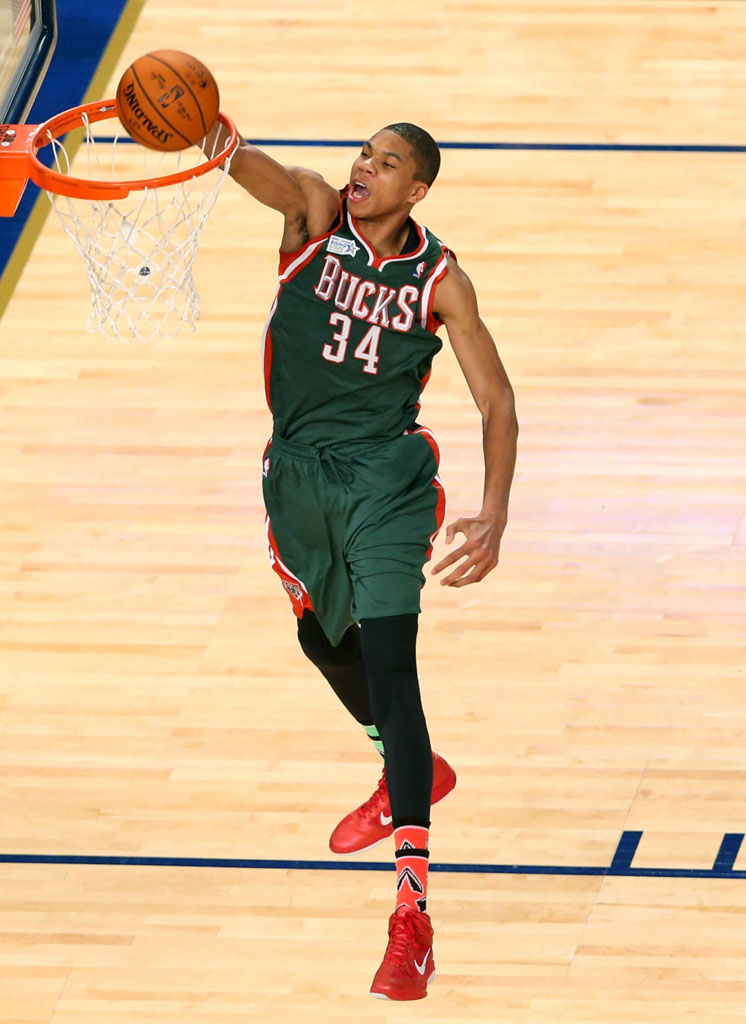 Giannis Antetokounmpo wearing Nike Zoom Hyperfuse
