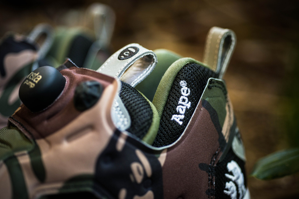 aape by a bathing ape x reebok pump fury moonface