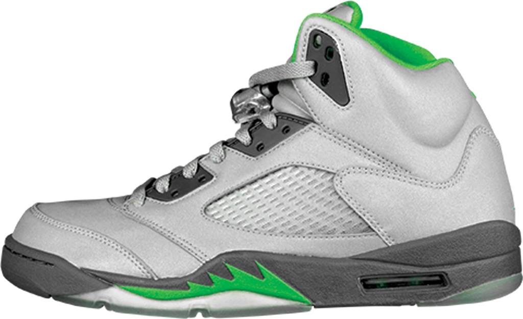 Air Jordan V. Releases Featuring 3M: White/Black-Fire Red .