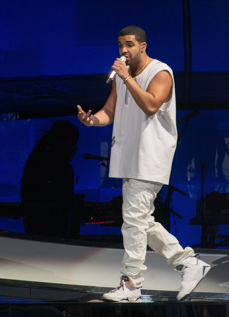 Drake wearing Air Jordan 7 VII Retro Orlando