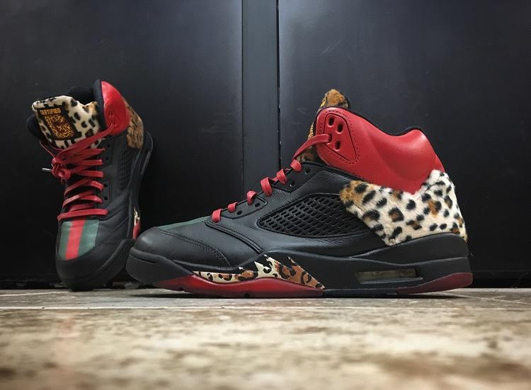 Enzo Amore Air Jordan 5 Leopard Custom by Left