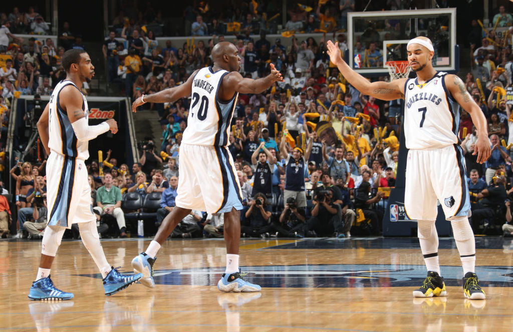 Memphis Grizzlies wearing adidas Basketball Shoes