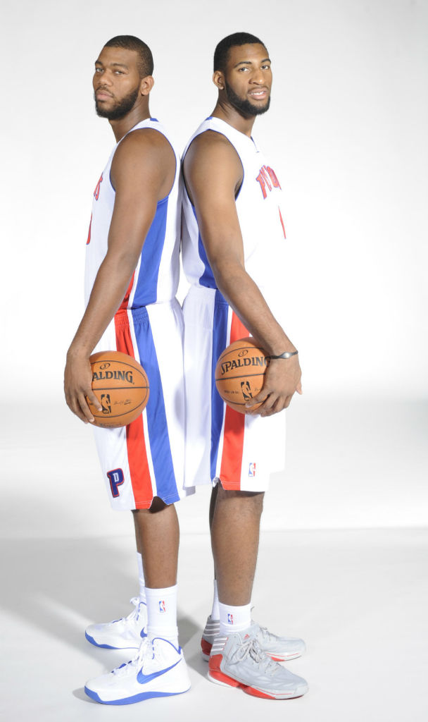 Greg Monroe wearing Nike Zoom Hyperfuse 2012; Andre Drummond wearing adidas adiZero Crazy Light 2