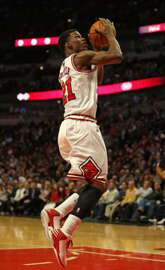 Jimmy Butler wearing adidas Rose 773