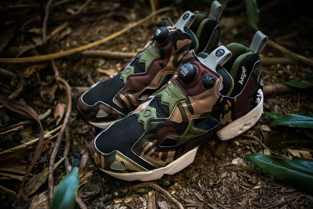 aape by a bathing ape x reebok pump fury camo upper