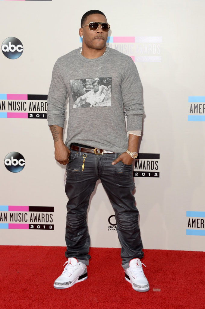 Nelly wearing Air Jordan 3 Retro Cement
