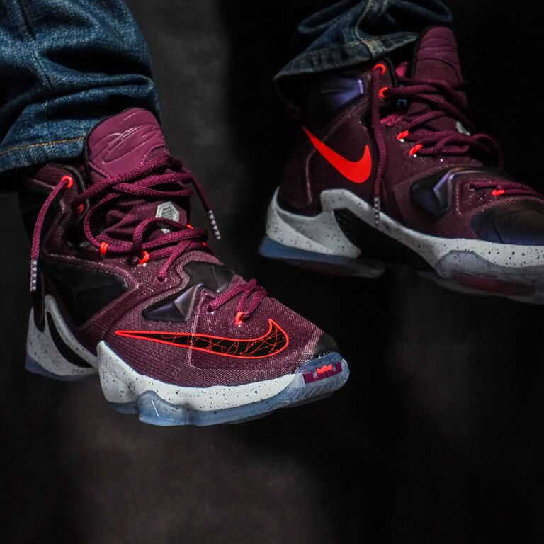 detailed look 28500 56597 Nike LeBron 13 Berry On-Foot 807219-500 (1)