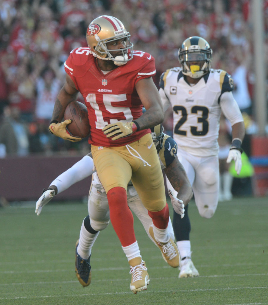 Michael Crabtree wearing Air Jordan 12 49ers Gold PE Cleats (1)