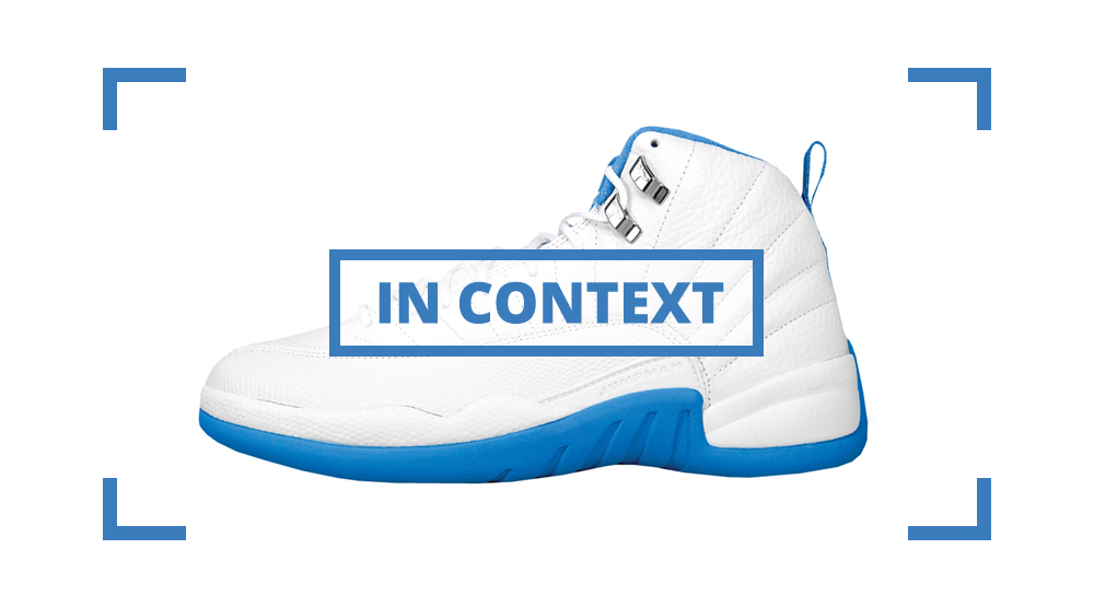 abc460b8 Shoe: Air Jordan 12 Retro – White / University Blue / Metallic Silver Retail  Price: $135. Release Date: 05/15/2004 #1 Movie: Troy #1 Song: Yeah!