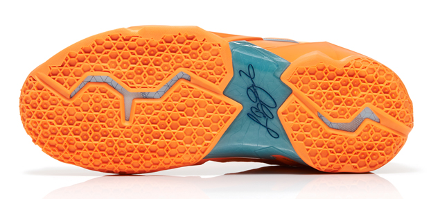 Nike LeBron 11 in Atomic Orange Green Abyss and Glacier Ice outsole
