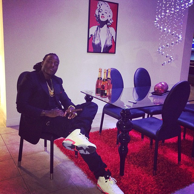 Ace Hood wearing Air Jordan 6 Retro White/Infrared