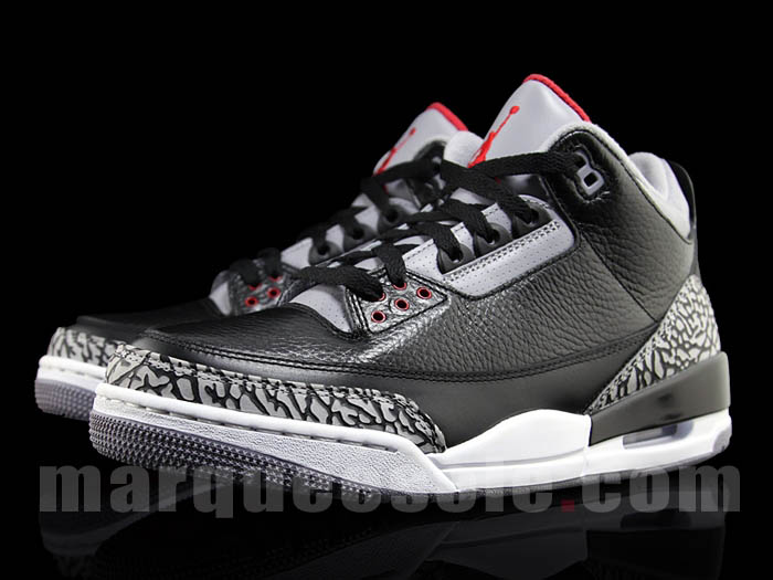 Air Jordan Retro 3 - Black Varsity Red-Cement Grey - Holiday 2011 ... 34e000aeeb