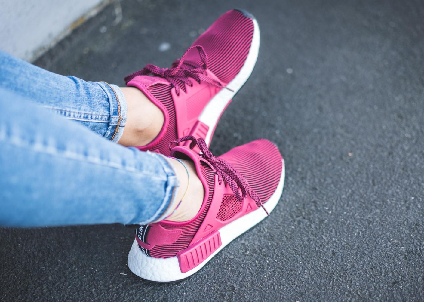 Pink Adidas NMD XR1 On Feet