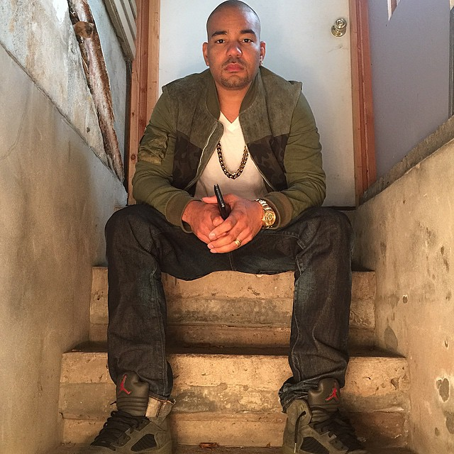 DJ Envy wearing Air Jordan V 5 Fear Pack