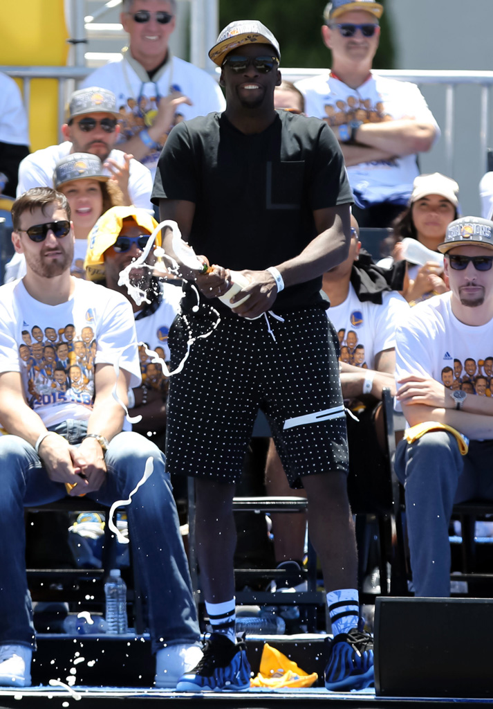 Draymond Green wearing 'Sharpie' Nike Foamposites at the Golden State Warriors Championship Parade (2)