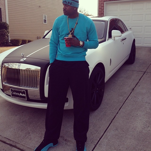 Stephen Jackson wearing Air Jordan 12 Gamma Blue