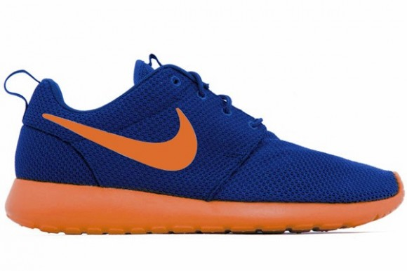 nike roshe run orange sole and blue