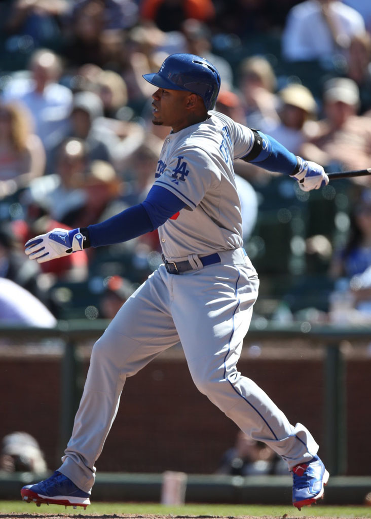 Carl Crawford wearing Air Jordan VI 6 Los Angeles Dodgers PE Cleats (1)