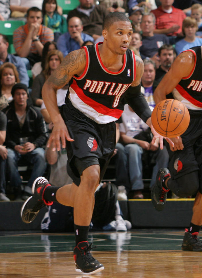 Damian Lillard wearing adidas Rose 773 Away