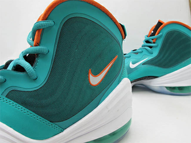 huge selection of ca266 17d85 Nike Air Penny V Miami Dolphins New Green White Safety Orange 537331-300 (3