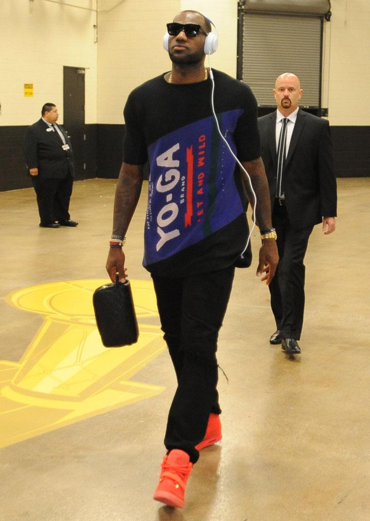 best website 5e751 c580b LeBron James wearing Nike Air Yeezy 2 Red October (2)