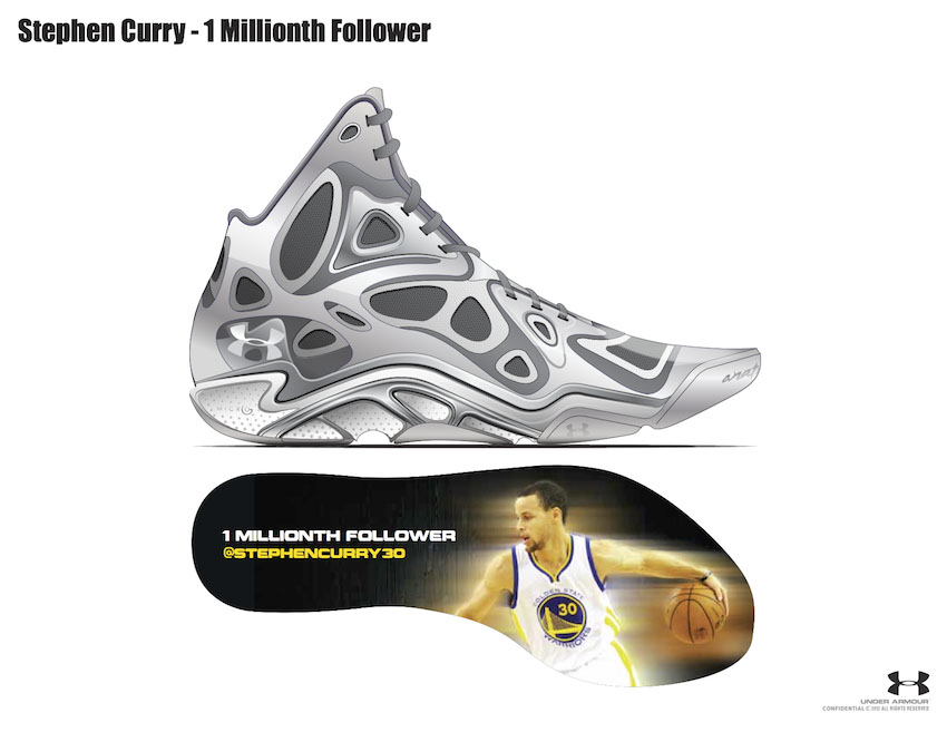 Stephen Curry Gives 1 Millionth Twitter Follower Custom Under Armour Anatomix Spawn