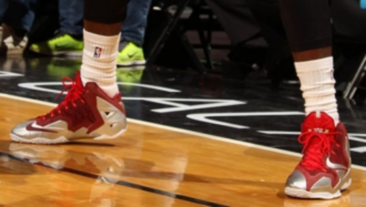 LeBron James Wears Nike LeBron 11 Red/Silver PE | Sole ...
