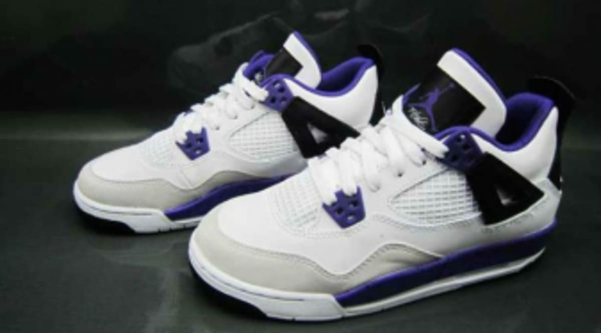 e66482fdf56a Air Jordan Retro 4 GS - White Ultraviolet-Black