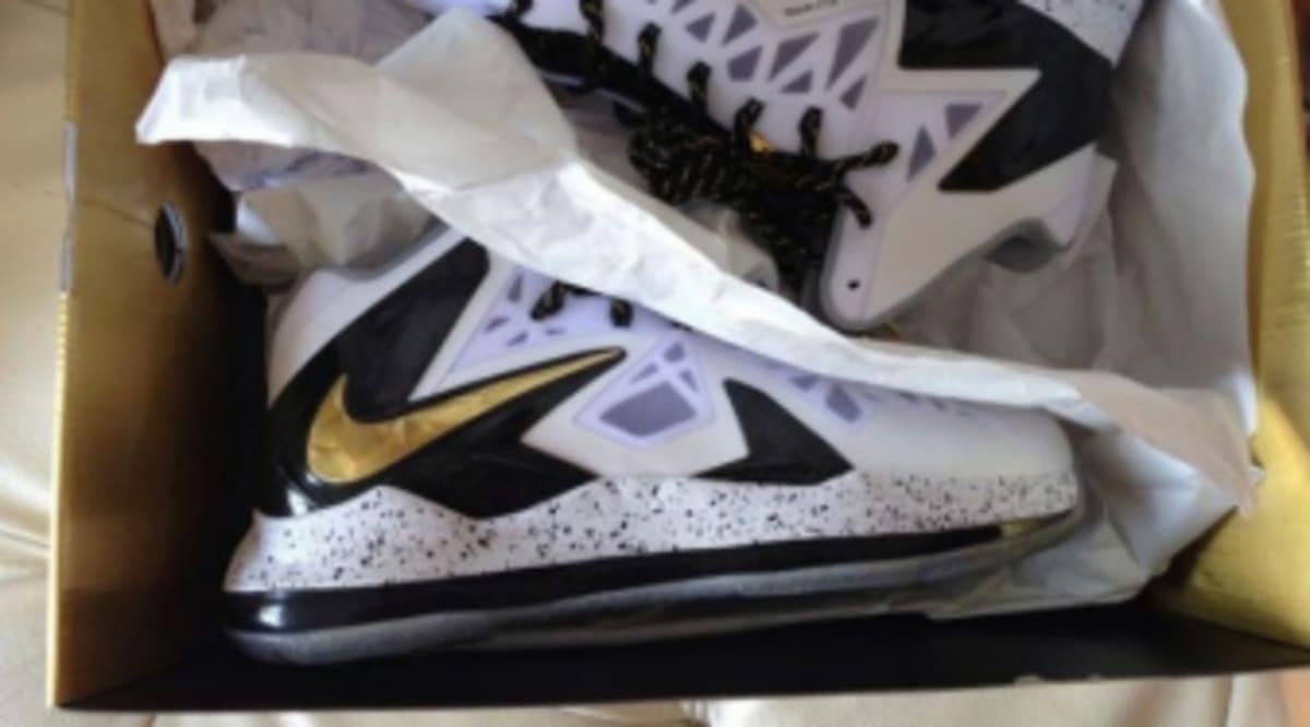 best loved dfaa9 4f148 Nike LeBron X PS Elite - White   Metallic Gold - Black