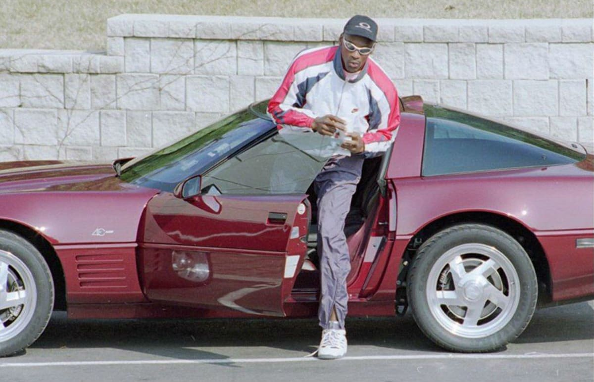 Michael Jordan in his Corvette