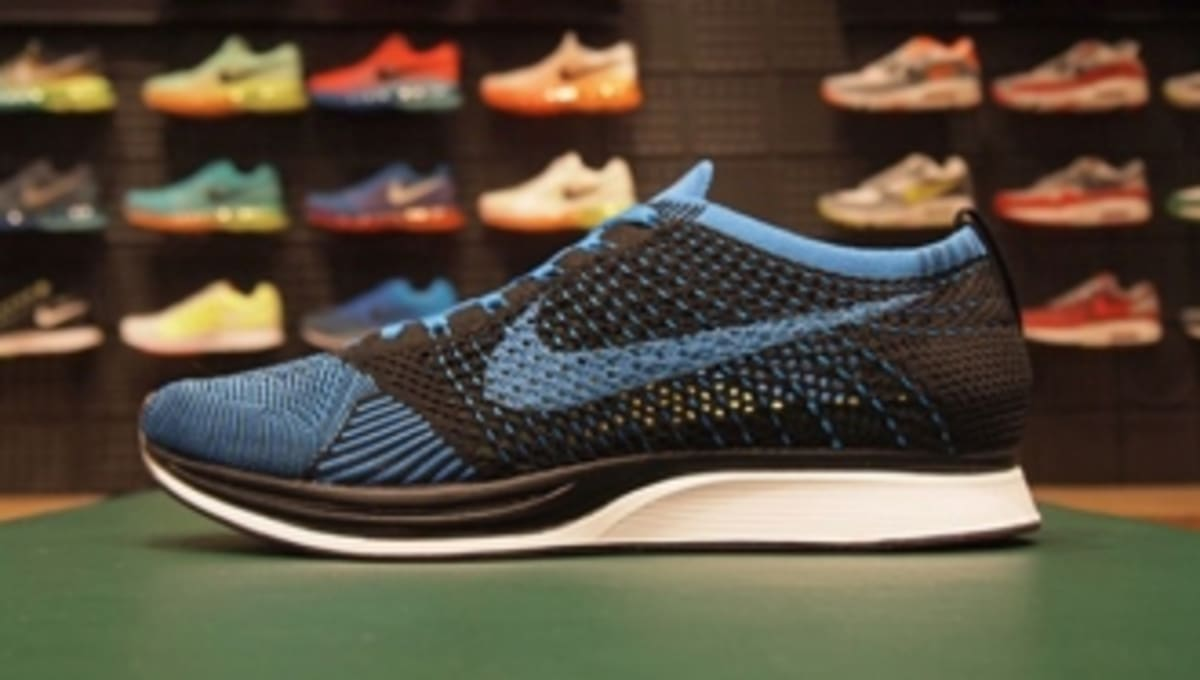 c0e7067a70421 Nike Flyknit Racer - Black White-Blue