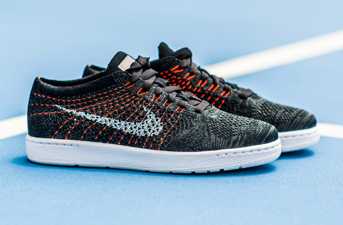 nike flyknit tennis classic black red sole collector. Black Bedroom Furniture Sets. Home Design Ideas