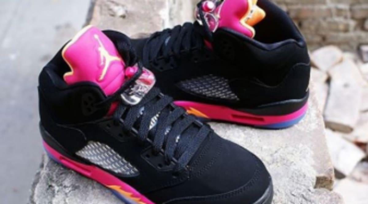 cheap for discount f4812 4d818 Air Jordan 5 Retro GS - Black Bright Citrus-Fusion Pink   Sole Collector