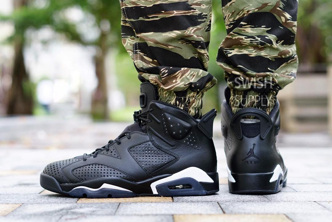 Black Cat Jordan 6 On-Foot Side
