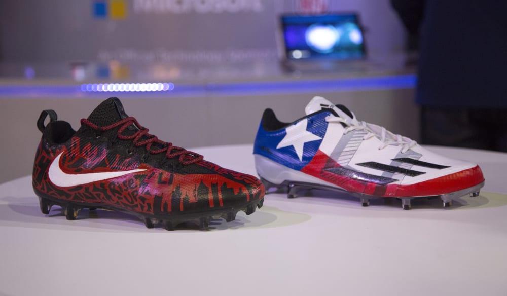 Malcolm Butler & Devonta Freeman Custom Super Bowl Cleats (2)