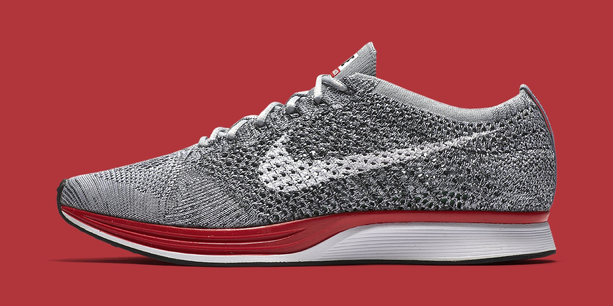 Nike Flyknit Racer Grey Red 526628-013 Profile