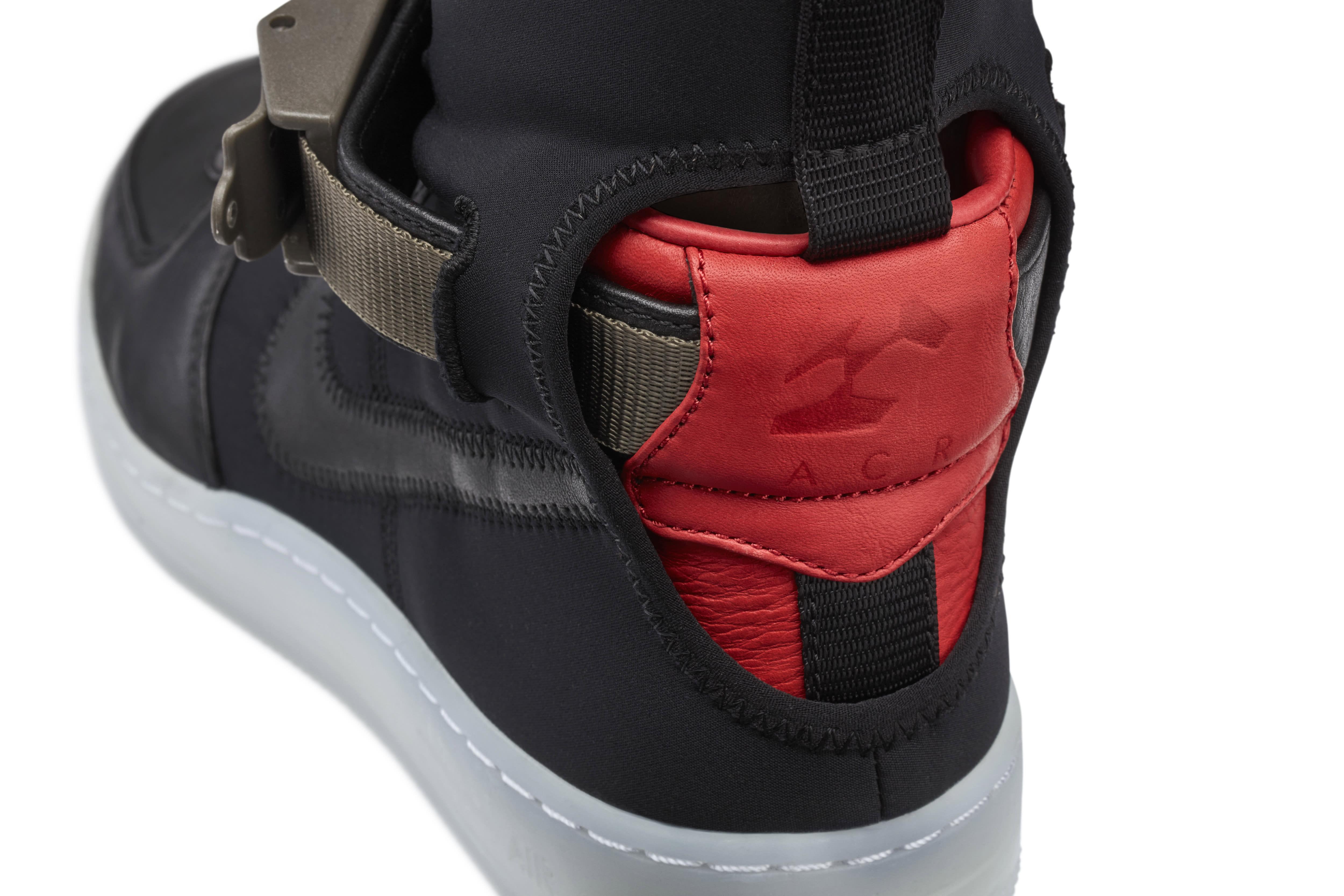 detailed look 0e36c aff70 Image via Nike NikeLab Air Force 1 Acronym Black Detail