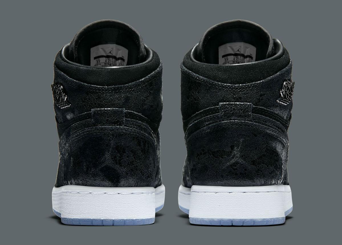 0248a47f1e6fd4 Air Jordan 1 Heiress Black Suede Release Date Heel 832596-001